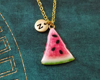 Watermelon Necklace Watermelon Jewelry Watermelon Slice Fruit Charm Necklace Pendant Necklace Initial Necklace Personalized Jewelry Gift