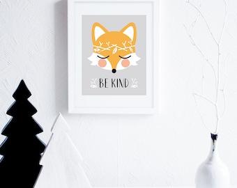Be Kind Fox Art Illustration, Printable Art for Nursery, Grey and Orange Nursery Decor, Gender Neutral Nursery Wall Art, Woodland Wreath