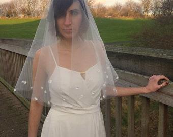 Wedding Veil - Bridal Drop Veil - Blusher Veil - Drop Veil Flowers - Lace Drop Veil - Wedding Drop Veil - Bridal Veil