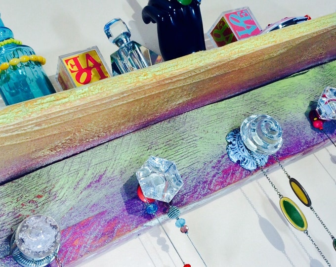 Made to order -floating shelves recycled pallet wood wall hanging decor /accent shelving /jewelry holder shelf reclaimed wood 5 glass knobs