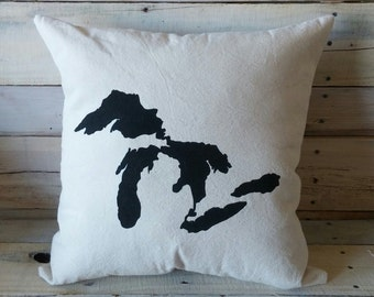 Great Lakes Throw Pillow, Lake Michigan, Lake Erie, Lake Superior, Lake Huron, Lake Ontario, Decorative Pillow Cover