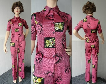 Pink Vintage Two Pieces Set // High Class Wear // Original Kings Fashion De Luxe // Made In Hong Kong