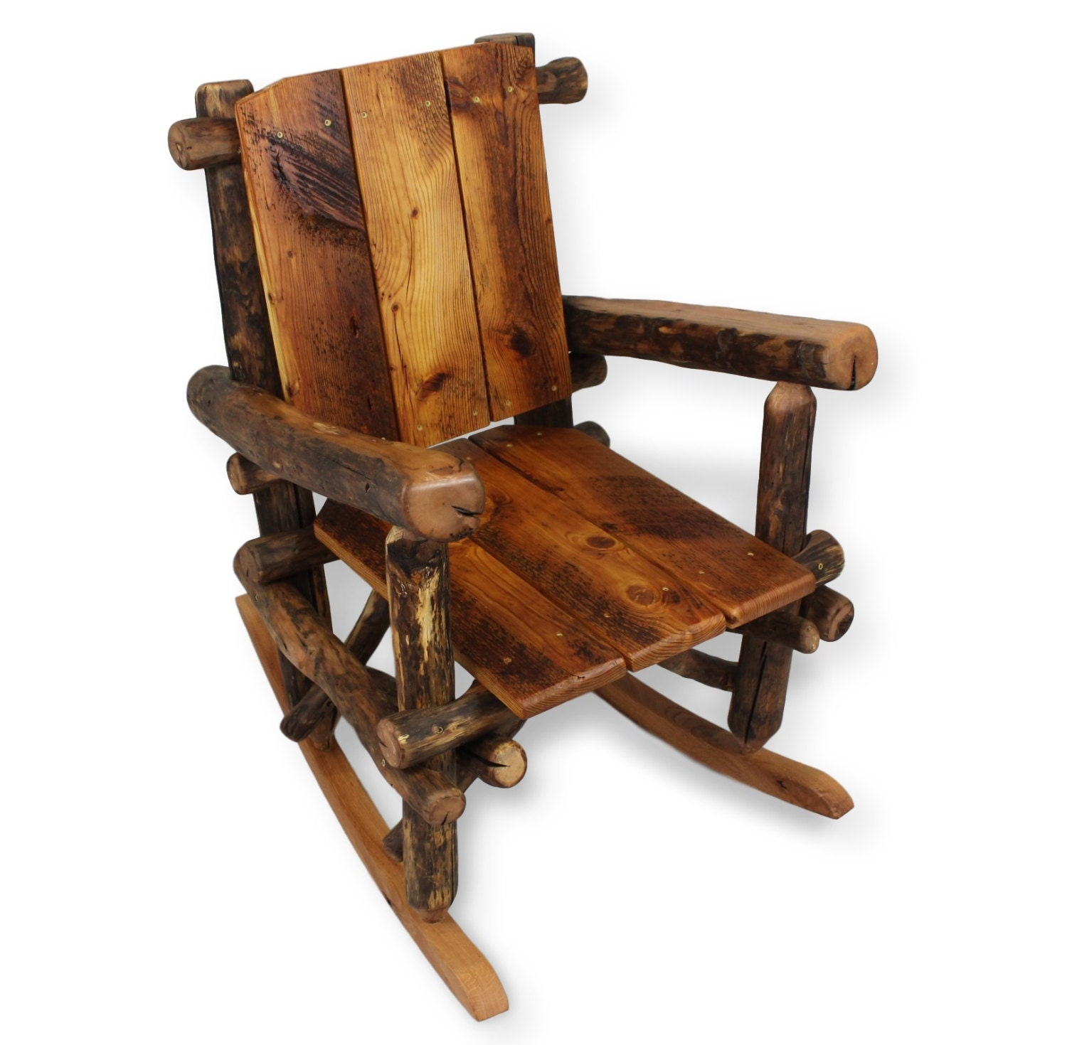 Rustic rocking chair reclaimed wood porch furniture