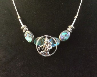 """Hindu Deity Krishna w/ Flute Pendant Necklace. Sterling Silver. Blue Paua Shell or Pink Mother of Pearl,  16 or 21"""" free US ship 49.50 ea"""