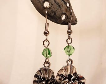 Frog on Lily Pad Earrings with Green Faceted Glass Beads, fishook french hook hypo allergenic earrings gift for her handmade jewellery