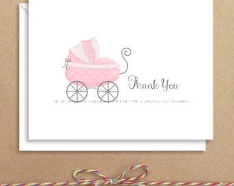 Pink Carriage Baby Note Cards - Baby Shower Thank You - Baby Thank You Notes - Illustrated Note Cards