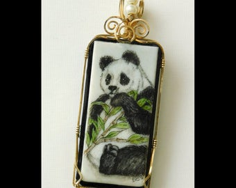 Original Scrimshaw Engraved Illustration of a Panda on an Antique Piano Key, Named Oriental Take Out