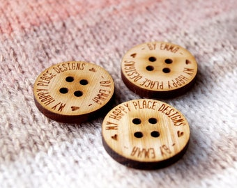 Wooden buttons custom - personalized wood buttons engraved with your text or logo - wooden buttons for knitted and crocheted products, 25 pc