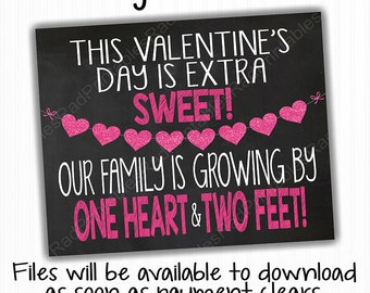 Valentineu0027s Day Pregnancy Announcement Chalkboard   Digital Chalkboard File    Instant Download Printable Sign   Family