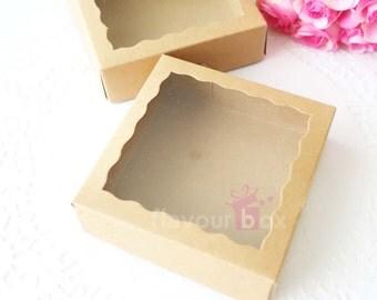 Kraft Gift Boxes - Cookie Boxes 10x10x3 cm - Macaron Box - Favour Box - Wedding Bomboniere - Baby Shower Favour
