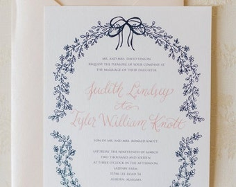 Hand-drawn Delicate Leaf Bow Calligraphy Wedding Invitation