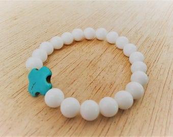 Beach Wedding Bracelet, Religious Cross Greek Favor Bracelets, Bridesmaid Bracelets, White and Blue Beaded Bracelet, Blue Gemstone Bracelets