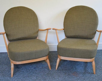Pair of Vintage Ercol 203 Windsor Armchairs: Refurbished & Upholstered in Soft Green