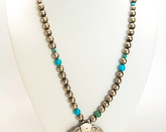 Native American vintage turquoise and sterling silver necklace-brooch