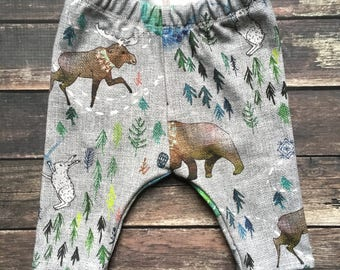 Organic Leggings - Call of the Northern Wild -woodland leggings, tribal leggings, unisex leggings, organic baby clothes, modern organic baby