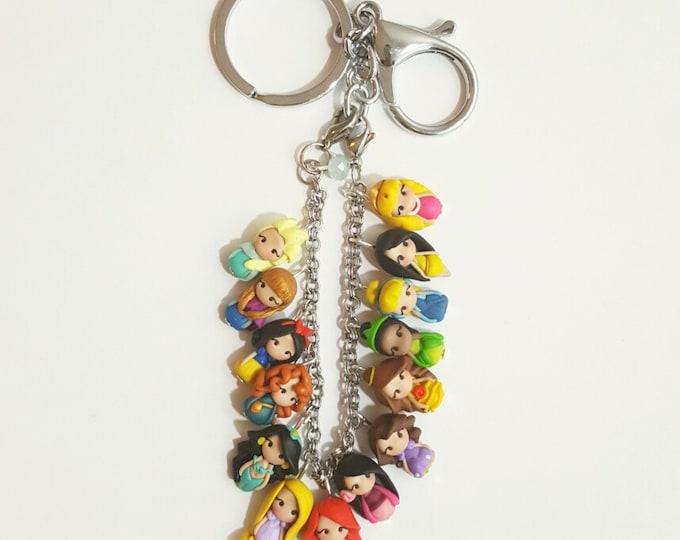 3 objects in one, key chain, bag charm, bracelet .Disney bracelet. Disney jewelry. Clay charm. Princess Ariel, Anna,Elsa,Merida,Snowwhite