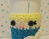 Princess Elsa~Frozen~Crochet~Cup Cozy/Sleeve~Drink Holder~Teal~Hot or Cold Beverages~Girl Birthday Gift