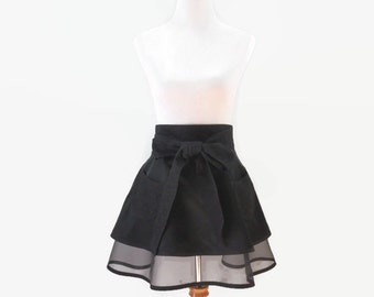 Black Half Apron, Full Black Apron, Black Retro Half Apron, Black Personalized Apron, Black Bridal Shower Apron, Gift for Her