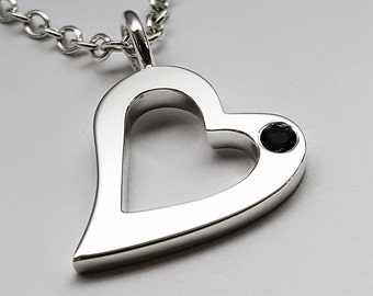 Black Spinel Open Heart Necklace Pendant In Sterling Silver - Sterling Silver Heart Necklace, Sterling Silver Heart Pendant, Black Heart