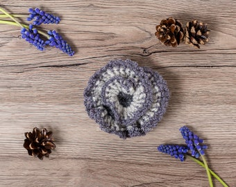 Gray crochet brooch, Crochet brooch, crochet flower brooch, rose brooch, scarf pin, shawl pin, lapel pin, handmade brooch, flower brooch