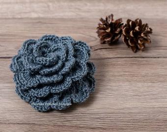 Crochet brooch, handmade lapel pin, Crochet flower brooch, Scarf pin, shawl pin, headband brooch pin, hat brooch, rose pin