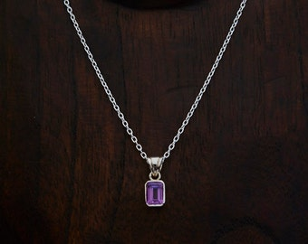 Amethyst Pendant, Amethyst Necklace, February Birthstone, Amethyst and Silver, Square Amethyst, Faceted Amethyst, Sterling Silver