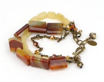 Agate Bracelet, Multi Strand Bracelet, Boho Stone Bracelet, Gemstone Bead Bracelet, Chunky Bracelet, Rustic Bracelet, Amber Bracelet, Gift