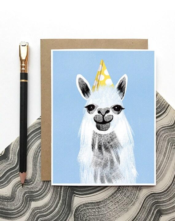 Llama Birthday Card Party Llama Funny Birthday Card