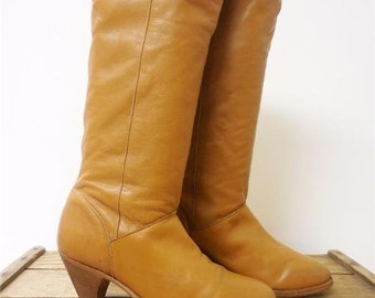 Frye Vintage Tan Supple Leather Tall Slouch USA Fashion Boots Women 7.5 SCRAPES