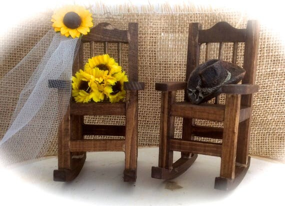 Sunflower Barn Country Wedding Rocking Chair Cake Topper With Sunflower Bouquet/Veil & Cowboy Hat
