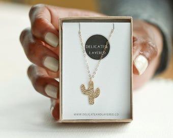 Cactus Necklace, Simple Necklaces, Cactus Necklace Pendant, Boho Necklace, Gold Cactus, Cactus Charm, Cactus Jewelry, Summer Necklace
