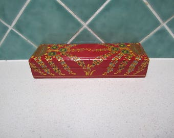 Red Hand Painted Paper Mache Box - Gift - Pencil - Jewellery