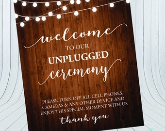 Wedding Ceremony Unplugged Sign {Digital File} - Wedding Ceremony Sign