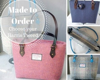 Harris Tweed tote bag - MADE TO ORDER  large shoulder bag with leather shoulder straps and cotton lining with zip pockets - Made to Order