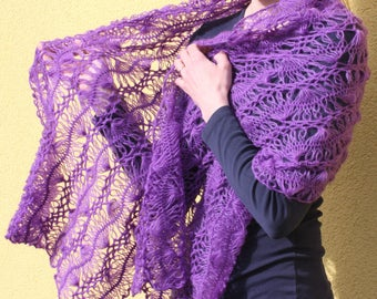Knitted Shawl - Wrap - Scarf - Lilac - Handmade - Hand-knitted in Lithuania - Gift for her
