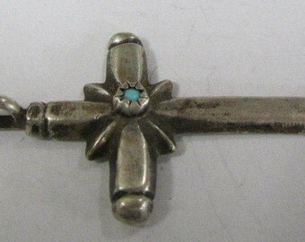 Navajo Sterling Silver and Turquoise Cross Pendant By H Y