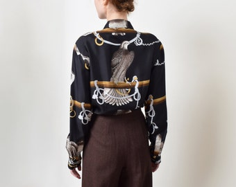 Wathne Eagle Print Silk Blouse Vintage Bird Print Button Up Shirt Baroque XS S