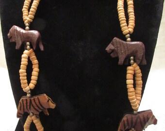 Vintage Carved Wooden Animal Safari Necklace • Ethnic Jewellery • Wood