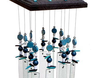 Stained Glass Windchime - Black & Silver - Aqua - Porch décor, Modern Windchime, AQ1001