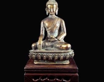 Tibetan Bronze Statue of Buddha Sakyamuni in position touching the earth - BR021