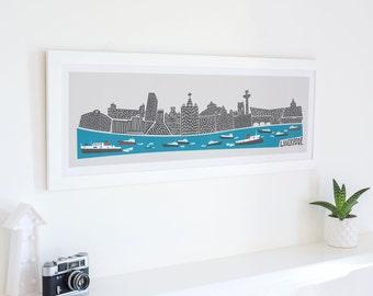Panoramic Liverpool Print, City Skyline Art, Mersey Ferry, Cityscape Poster, Mid Century Modern, Living Room Wall Art, Boat Art, Travel Art