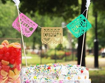 Papel Picado Cake Topper, Mexican Wedding Cake, Fiesta Birthday, Mexican Birthday, Cinco de Mayo, Cake Decoration, Cake Bunting, 1 TOPPER