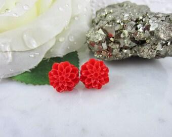 Red Dahlia - Red Dahlia Studs - Red Flower Studs - Red Earrings - Flower Studs - Flower Earrings - Red Studs - Dahlia Earrings