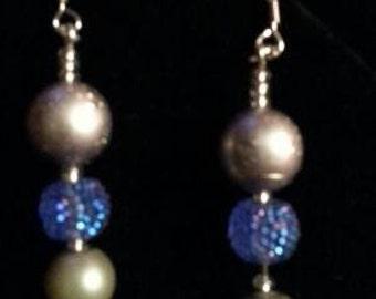 Silver And Blue Dangling Festive Earrings