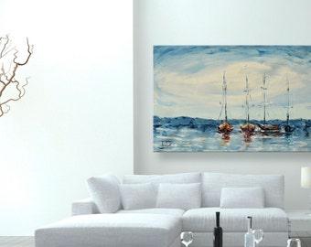"oil painting, modern art, ""Four sailboats"", canvas art, paintings on canvas, wall art, painting, abstract painting, wall painting, art"