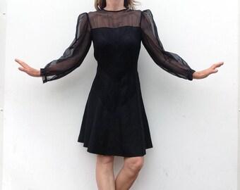 Vintage dress 1950s black crepe silk / transparent puff sleeves / evening dress