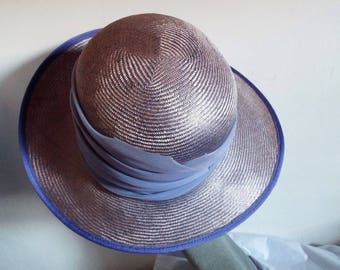Ladies TWO TONE LILAC  Sisal Straw Hat with an Asymmetric Brimmed hat by Peter Bettley