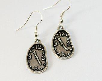 Salvador Dali Melting Clock Earrings: Silver/Bronze