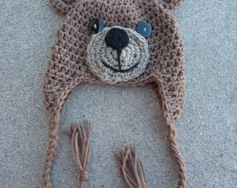 Newborn Teddy Bear Hat-- Brown