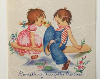 Friendship/Thinking of You - Unused Vintage 1940s Card